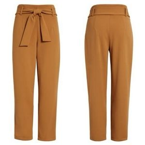 Leith high rise belted paper bag pants extra large